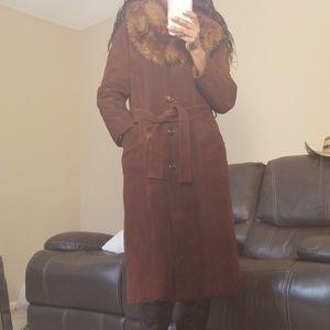 AMBE Suede women's coat w/faux Fur  collar